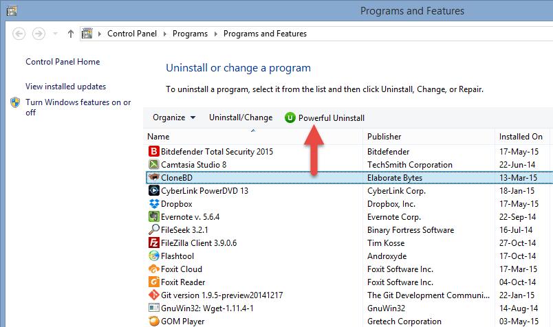 Add Remove Programs on Windows