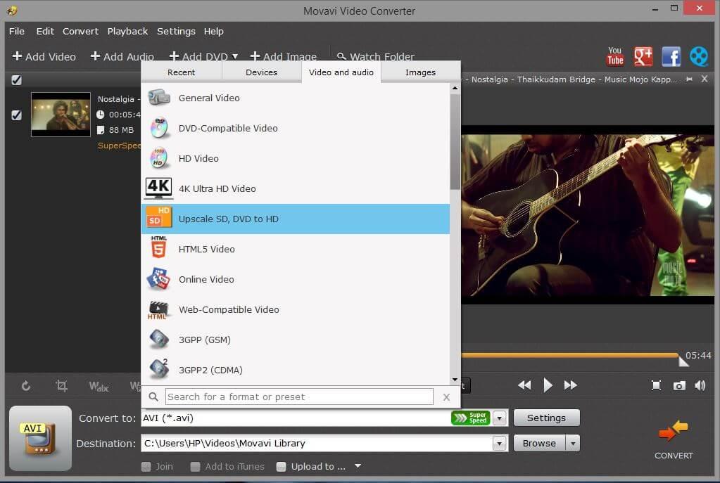 Movavi Video Converter Format Compatibility