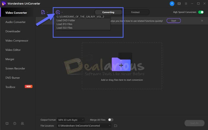 Add DVD in Wondershare Uniconverter