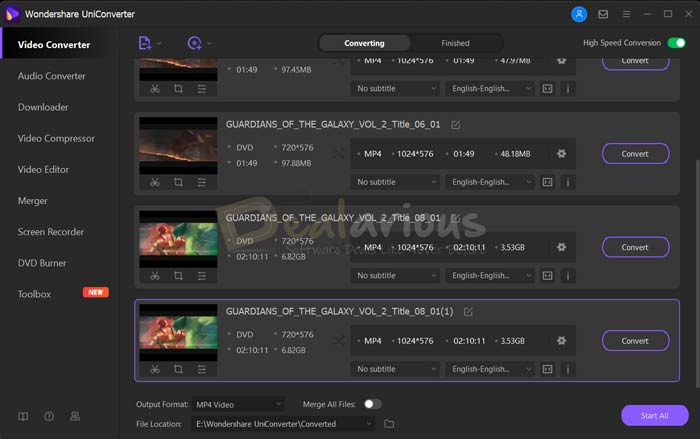 Movie list from DVD Wondershare Video Converter