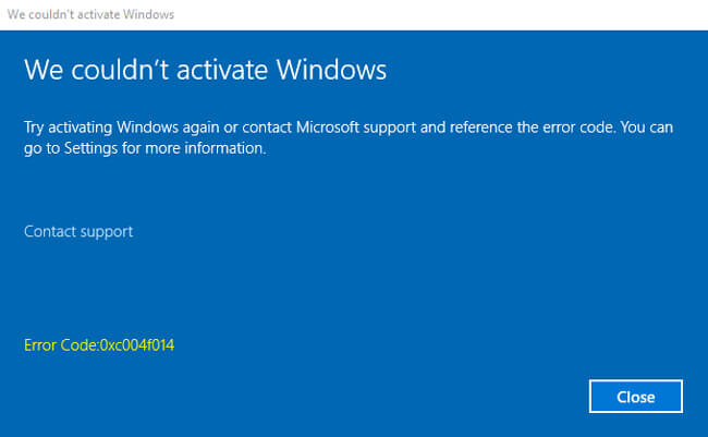 Windows 10 Error Code 0xc004f014 solution