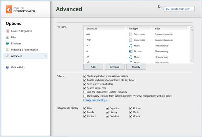 Copernic desktop search review-advanced options