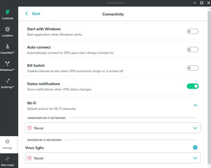 surfshark vpn review: connectivity settings