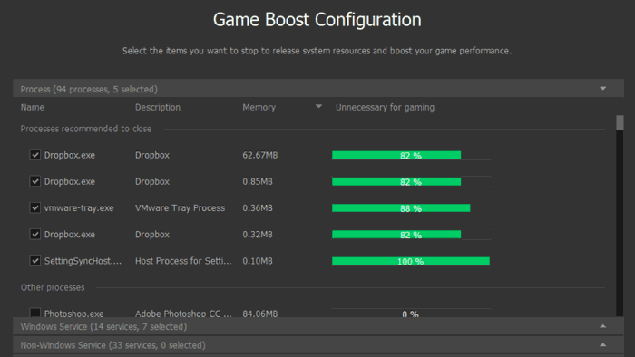 Game Booster Configuration