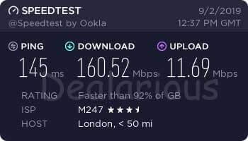 NordVPN United Kingdom Server speed test