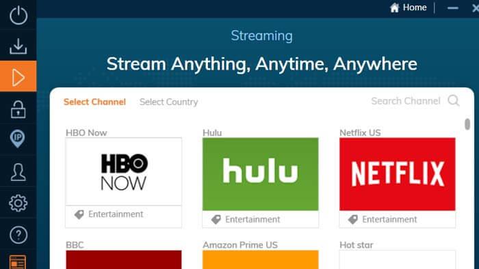 streaming servers in ivacy VPN