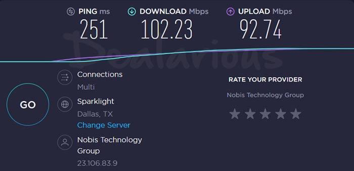 Cyberghost VPN USA Server Speed test