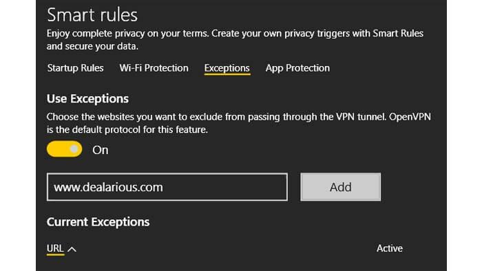 website vpn exceptions in Cyberghost