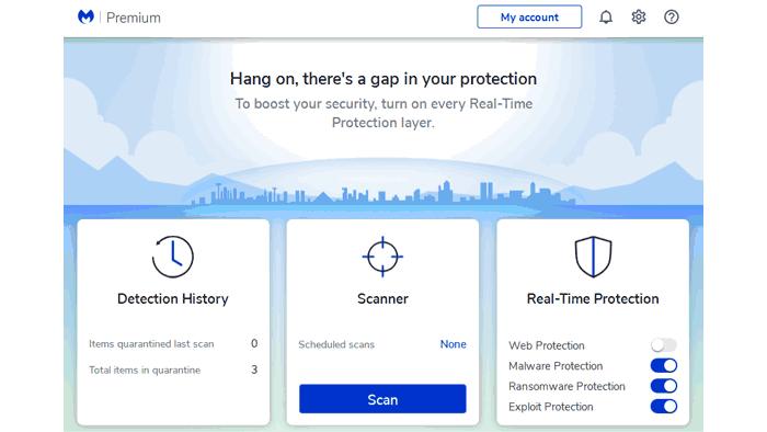 Malwarebytes 4 review homescreen