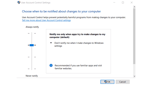 Windows 10 UAC Settings