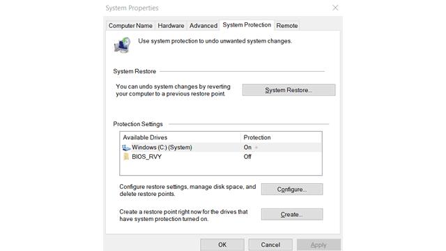 Create custom restore point in Windows 10
