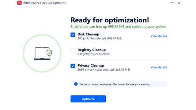 Bitdefender Total Security Oneclick optimizer review