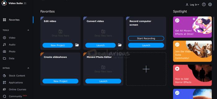 Interface de revisão do Movavi Video Suite