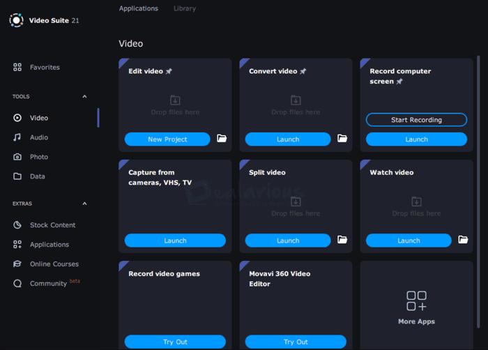Movavi Video Suite Video options