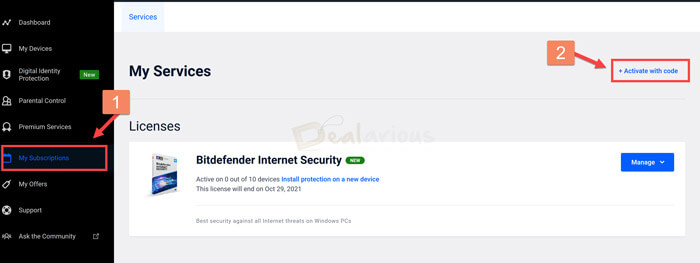Bitdefender Central Account Subscriptions