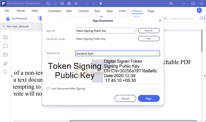 Add pdf security with digital signature in PDFelement 8
