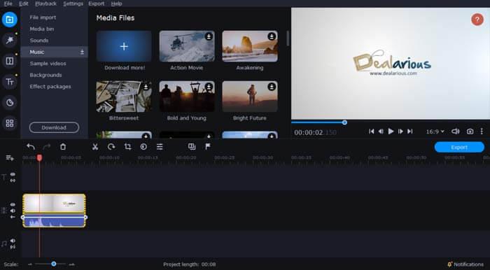 Movavi Video Editor plus editing