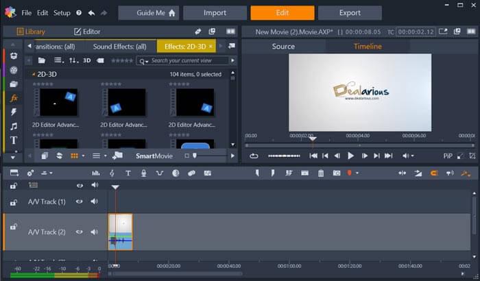 Pinnacle Studio editing screen