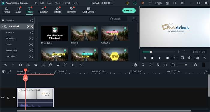 Wondershare Filmora editing