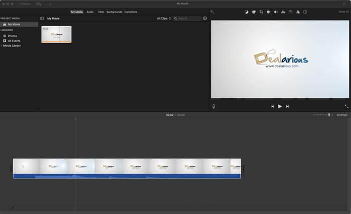 imovie Video editing screen