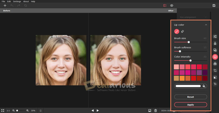 Retouching photos with Picverse