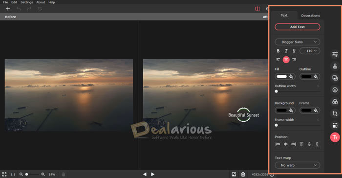 Add text to photos with Movavi Picverse