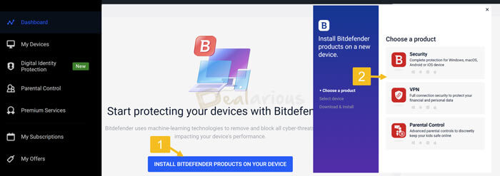 How to install Bitdefender From Central account
