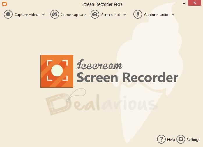 Home Screen of Icecream Screen Recorder