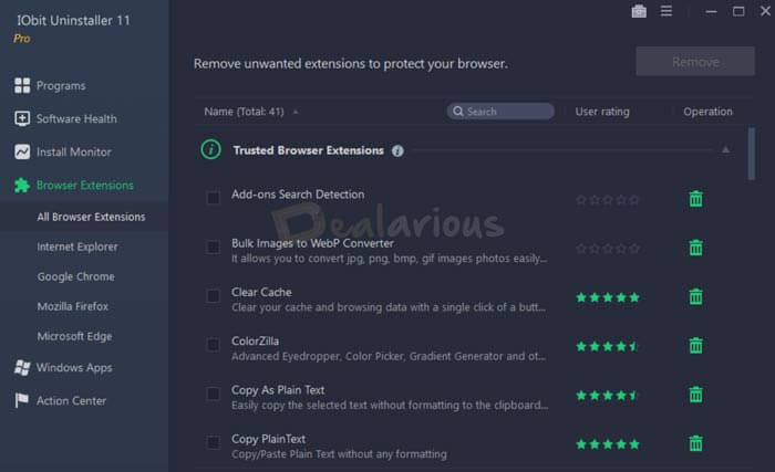 Remove Browser Extensions with IObit Uninstaller