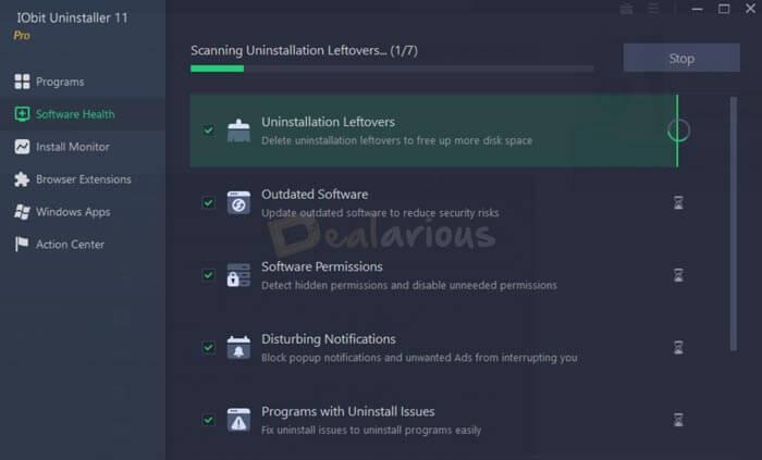 Iobit Uninstaller Software Health