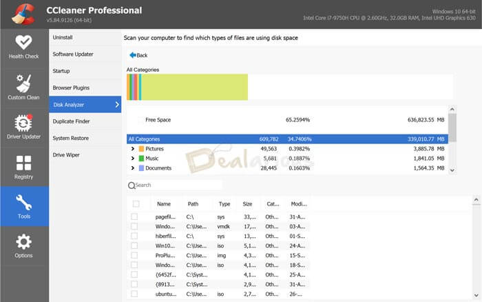 CCleaner Disk Space Analyze