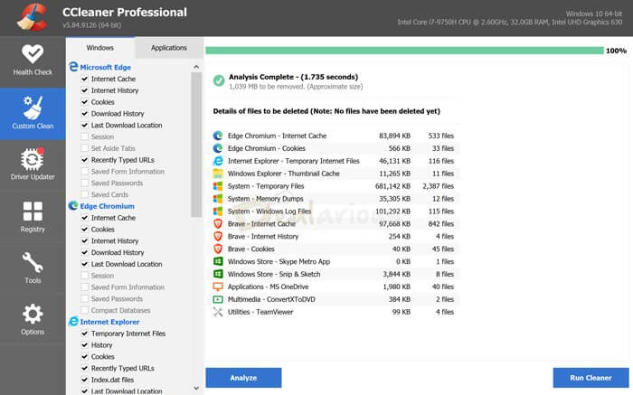 CCleaner custom Cleaning