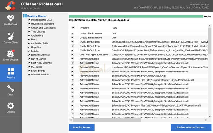 CCleaner Registry Cleaning